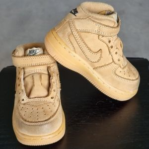 Light brown nike air force 1's for babies